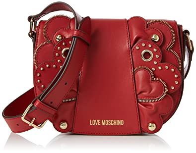 Moschino Borsa Vitello Smooth Rosso, Sacs baguette femme, (Red), 6x17x22 cm (B x H T)