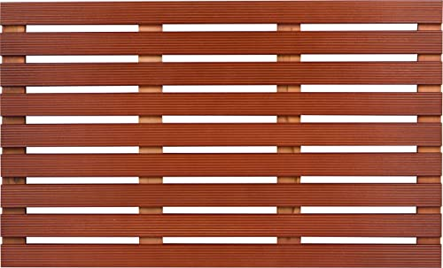 Trademark Innovations 31.5 Solid Teak Wood Non Slip Spa Shower or Door Mat