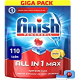 Finish Pastiglie Lavastoviglie All in 1 Max, Limone, 110 Tabs