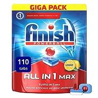 Finish Pastiglie Lavastoviglie All in 1 Max, Limone, 110 Tabs