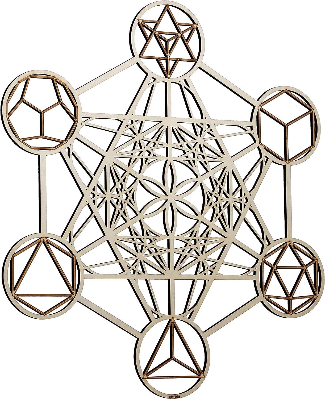 "ZenVizion 25"" Metatron's Cube Wall Art, Sacred Geometry Home Decor, Meditation Symbol, Yoga Hanging Artwork, Laser Cut Wooden Wall Sculpture, Wealth, Prosperity, Abundance, Gift"