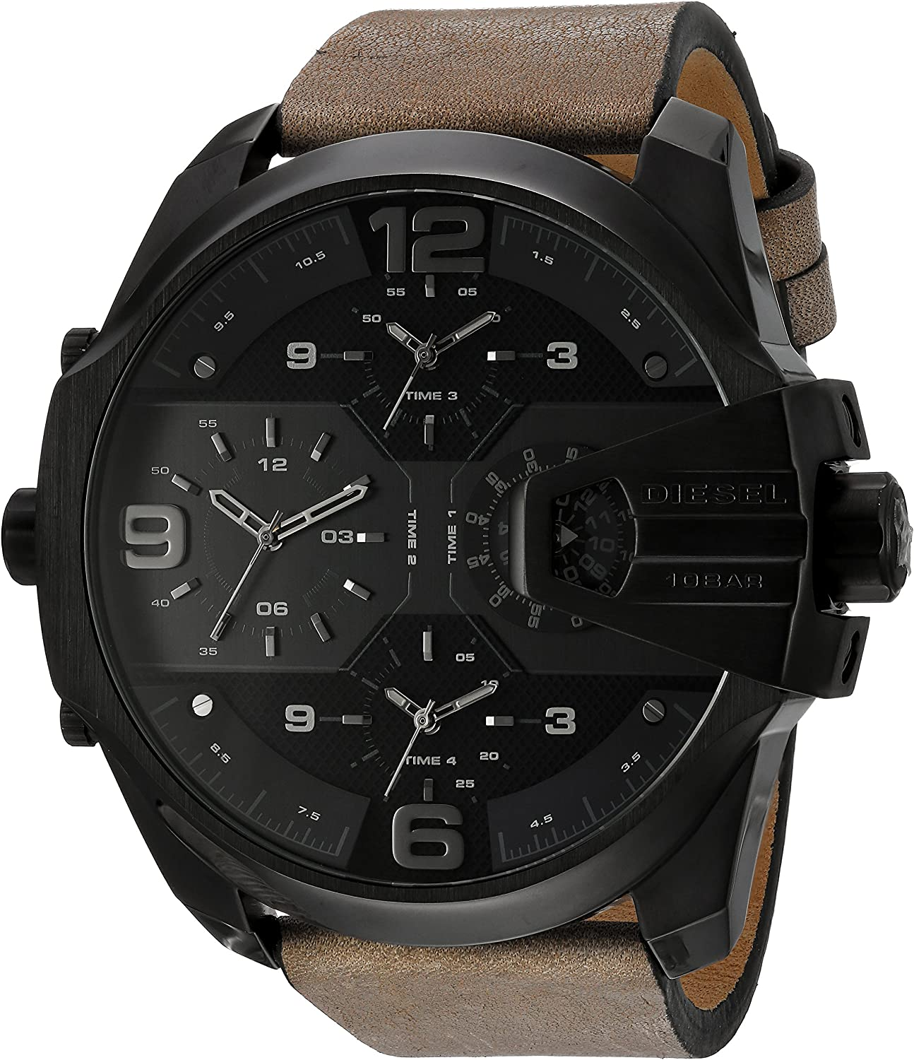 Diesel Men s Uber Chief Multi-Movement Watch with Aviation Inspired crownguard