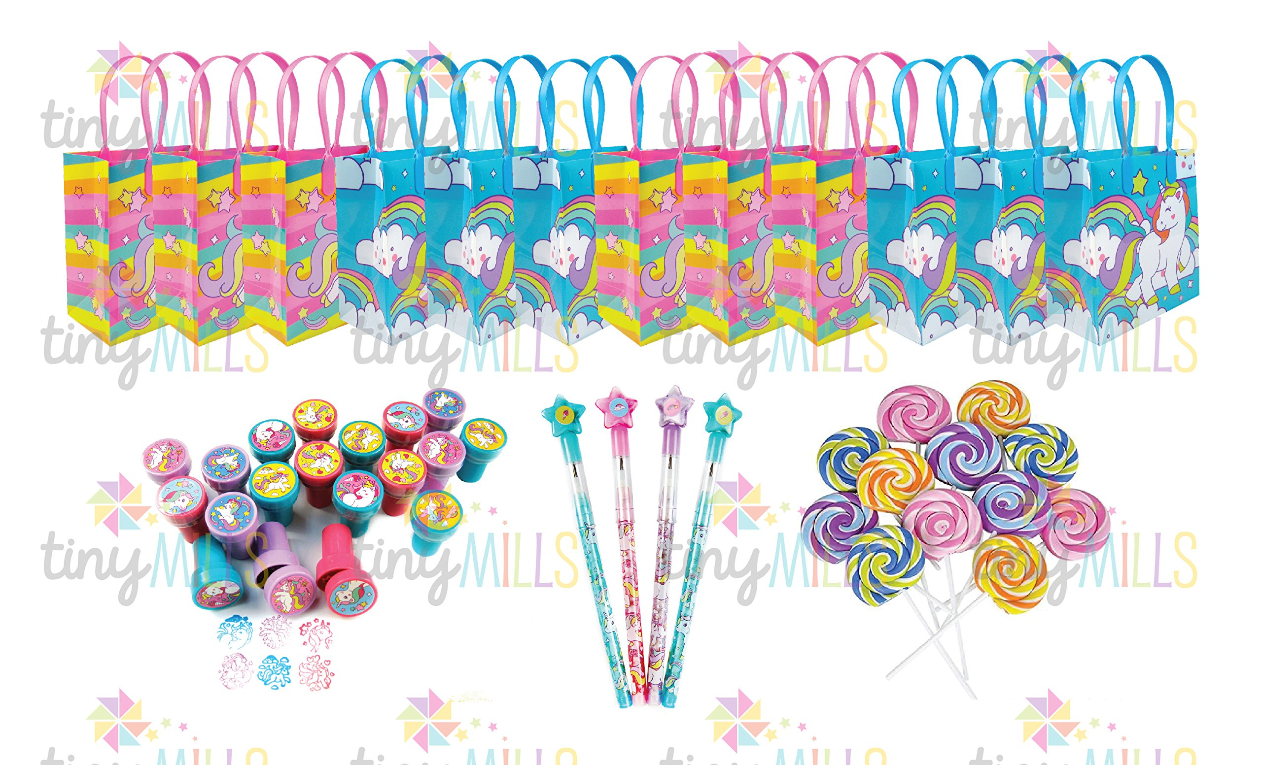TINYMILLS Unicorn Birthday Party Favor Set of 60 pcs (12 treat bags, 24 stampers, 12 multi-point pencils, 12 lollipop erasers)