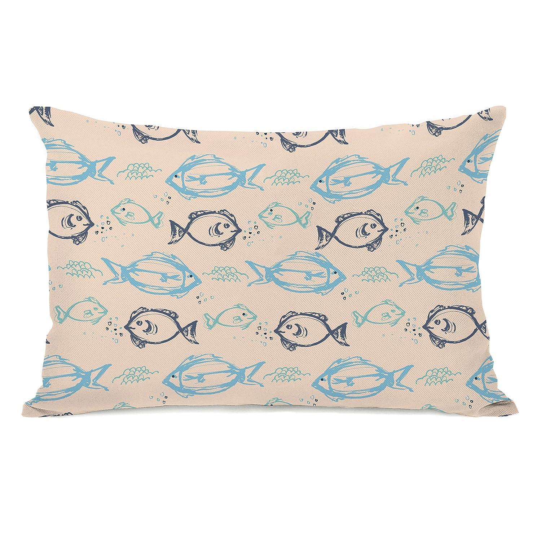 Tan//Blue One Bella Casa 13321PL42 Gone Fishin Pillow by Jeanetta Gonzales