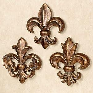Fleur de Lis Wall Accents Bronze/Gold - Set of Three - Polystone - Roman Emblem - Traditional Decor for Bedroom, Bathroom, Living Room -
