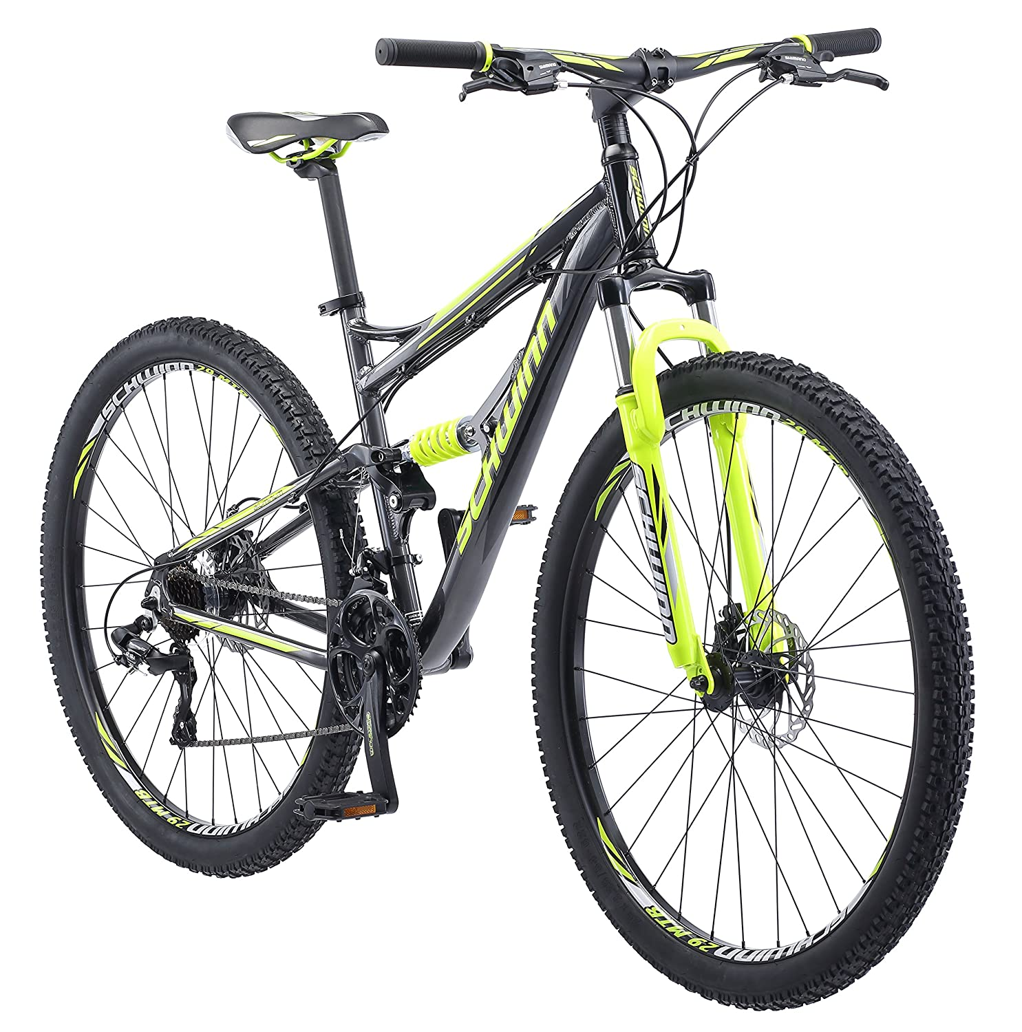Dual Suspension Mountain Bike >> Schwinn Traxion Full Dual Suspension Mountain Bike Featuring 18 Inch Medium Aluminum Frame And 29 Inch Wheels With Mechanical Disc Brakes 24 Speed