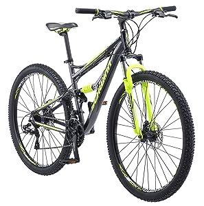 Schwinn Traxion Full Dual-Suspension Mountain Bike, Featuring 18-Inch/Medium Aluminum Frame and 29-Inch Wheels with Mechanical Disc Brakes, 24-Speed Shimano Drivetrain, Matte Grey/Neon Green