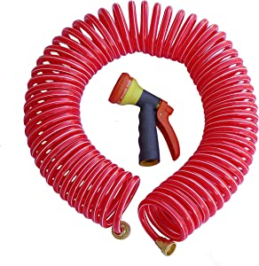 TABOR TOOLS Coil Garden Hose, 50 Feet Retractable Recoil Watering Hose with 8-Pattern Spray Nozzle, Corrosion Resistant 3/4 Inch Solid Brass Connectors, Lightweight and Durable. WK50A. (50 Feet)