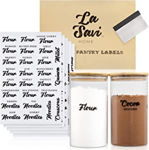 Set of 287 Pantry Labels - Charming Cursive Labels for Food Containers That Offer Easy Pantry or Kitchen Organization - 287 Kitchen Labels Preprinted with Your Favorite Ingredients