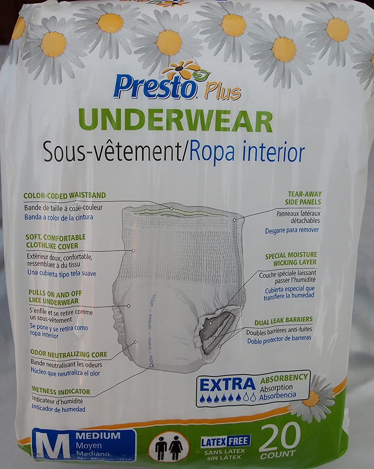Amazon.com: Presto Plus Extra Absorbency Adult Underwear 20-Pack Medium Size ONE PACK ONLY: Health & Personal Care