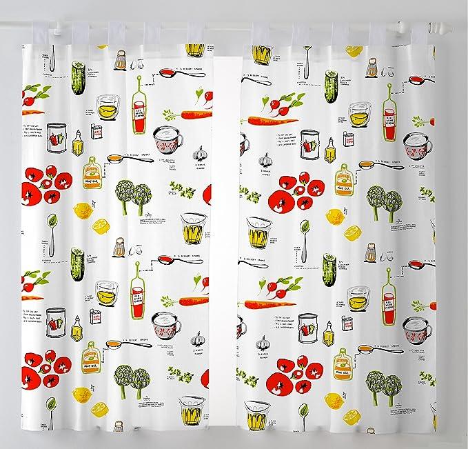 Martina Home Pack 2 Cortinas con visillo para Cocina modelo Vino ,medida 100 x 140 cm: Amazon.es: Hogar