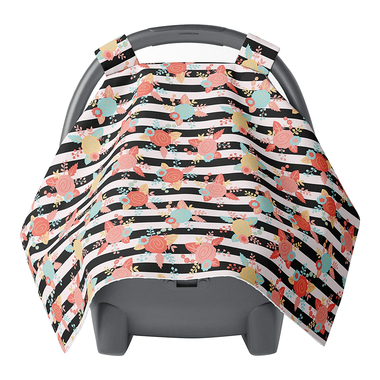 baby infant car seat cover and hood cover gray chevron with coral cotton