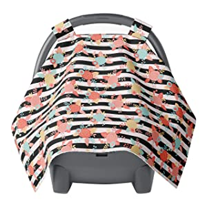 Carseat Canopy - Car seat Covers for Babies - Baby car seat Cover - Car seat Canopy for Girls Newborns Infants - Baby Shower Gift - Floral Coral