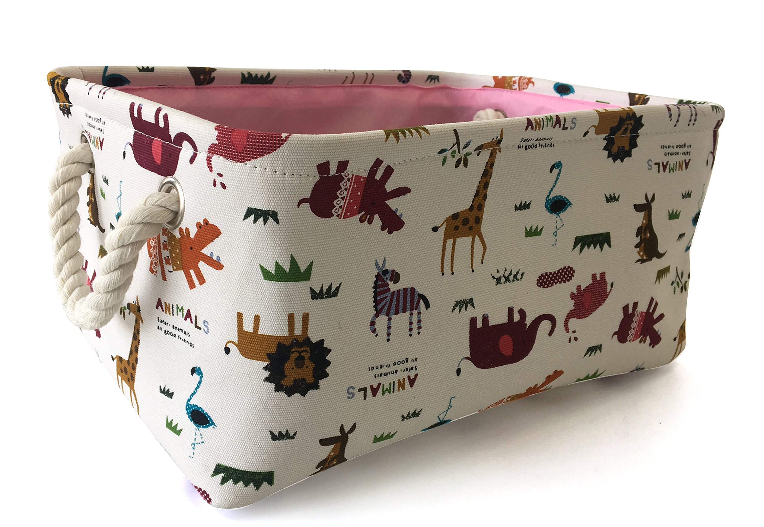 Rectangular Storage Basket Collapse Canvas Fabric Cartoon Storage Cube Bin With Handles for Organizing Home/Kitchen/Kids Toy/Office/ Closet/Shelf Baskets(Animals)