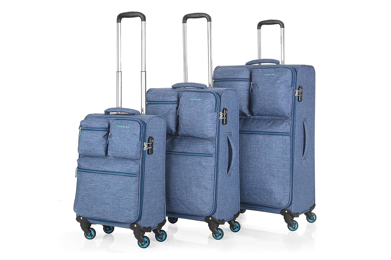 CarryOn Cargo Reisegepäck TSA 3er Gepäckset Weicher Trolleyset Kofferset mit Fronttaschen (blau)