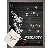 Plastic Letter Board with 376 Letters, Numbers & Symbols - 16 x 20 inch Changeable Message Board with Wooden Frame Wall…