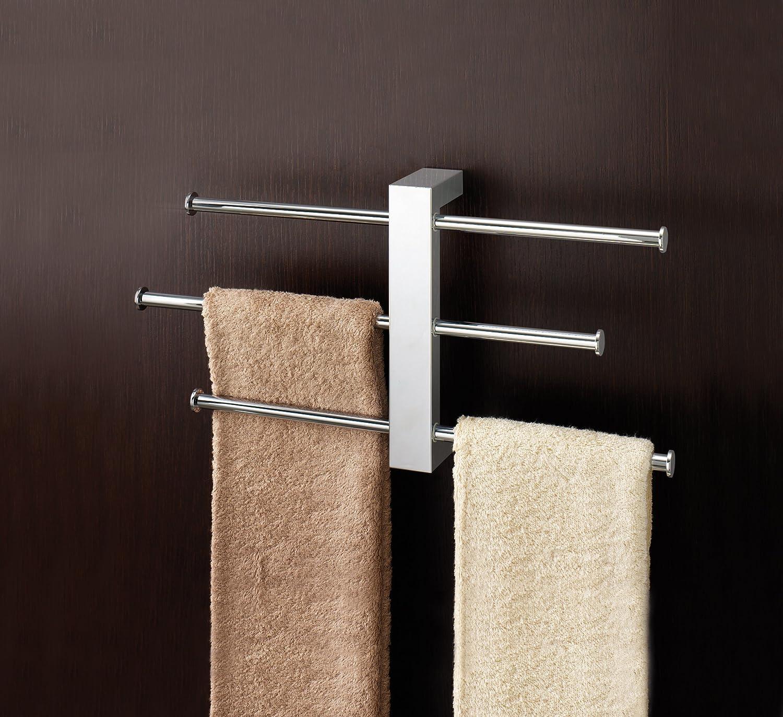 3 Hanging Chrome Plated Como Revolving Towel Hanger Rail Bath Rail New