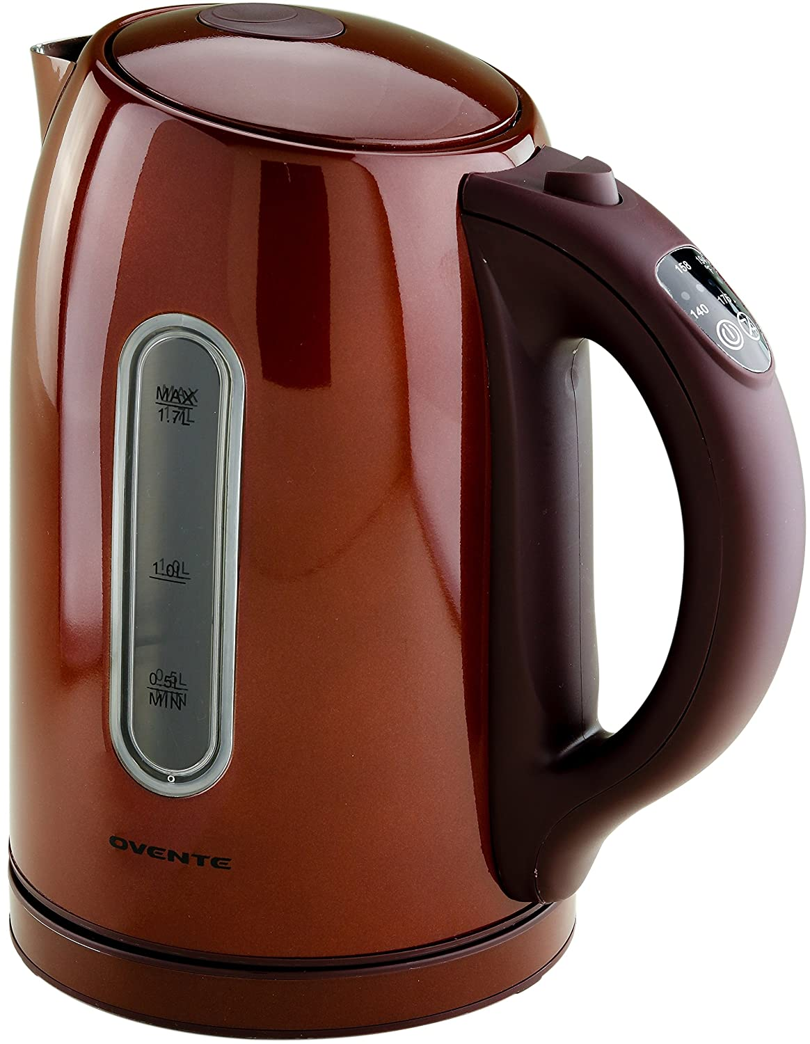 Ovente 1.7 Liter BPA-Free Temperature Control Stainless Steel Cordless Electric Kettle with Keep Warm Function, Auto Shut-Off and Boil-Dry Protection, Chocolate Brown, WITH BEEP (KS88BR)