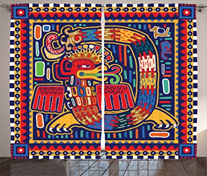 Ambesonne Mexican Curtains Aztec Culture Pattern Ethnic Colorful Mythology Artwork Ancient Snake Living Room