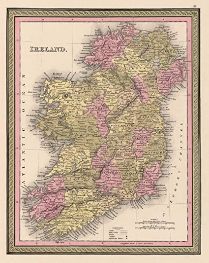 Print Map Of Ireland.Amazon Com Historical 1849 Mitchell Map Of Ireland 24 X 30 Fine
