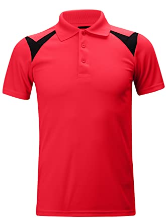 98ee966fc ZITY Outdoors Athlete Short Sleeve Shirts Polyester Polo Shortsleeves T- Shirts Red and Black US