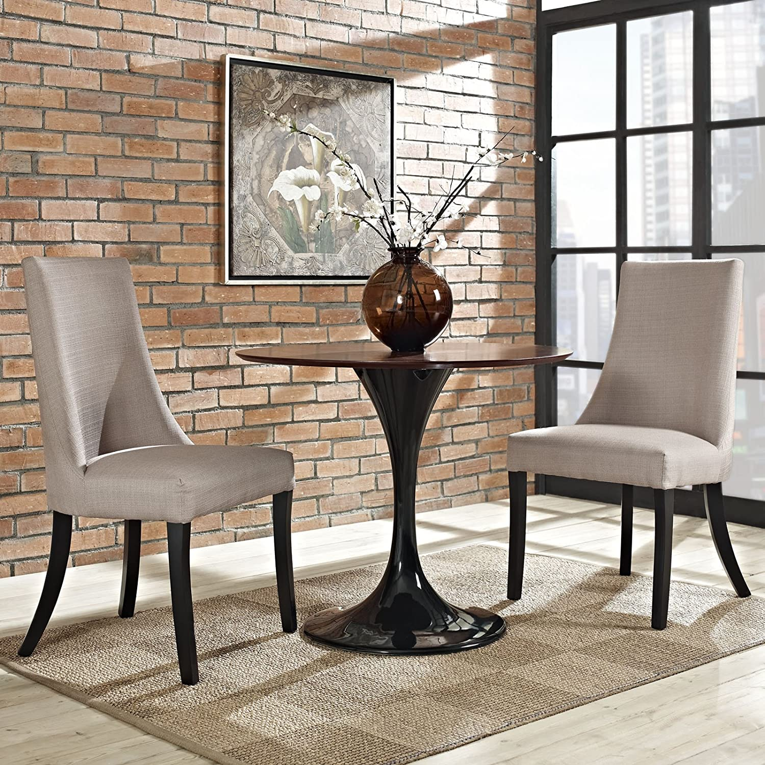 Modway Reverie Modern Upholstered Fabric Parsons Two Kitchen and Dining Room Chairs in Beige