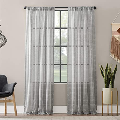 Clean Window Textured Slub Stripe Anti-Dust Allergy Pet Friendly Sheer Curtain Panel, 52 x 95 , Gray