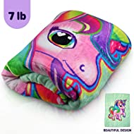 Kids Calming Unicorn Weighted Blanket by Bell + Howell, 7lb with Glass Bead Fill & Super Soft Polyester Shell, Designed for Comfortable, Natural Sleep, Heavy Hug Blanket