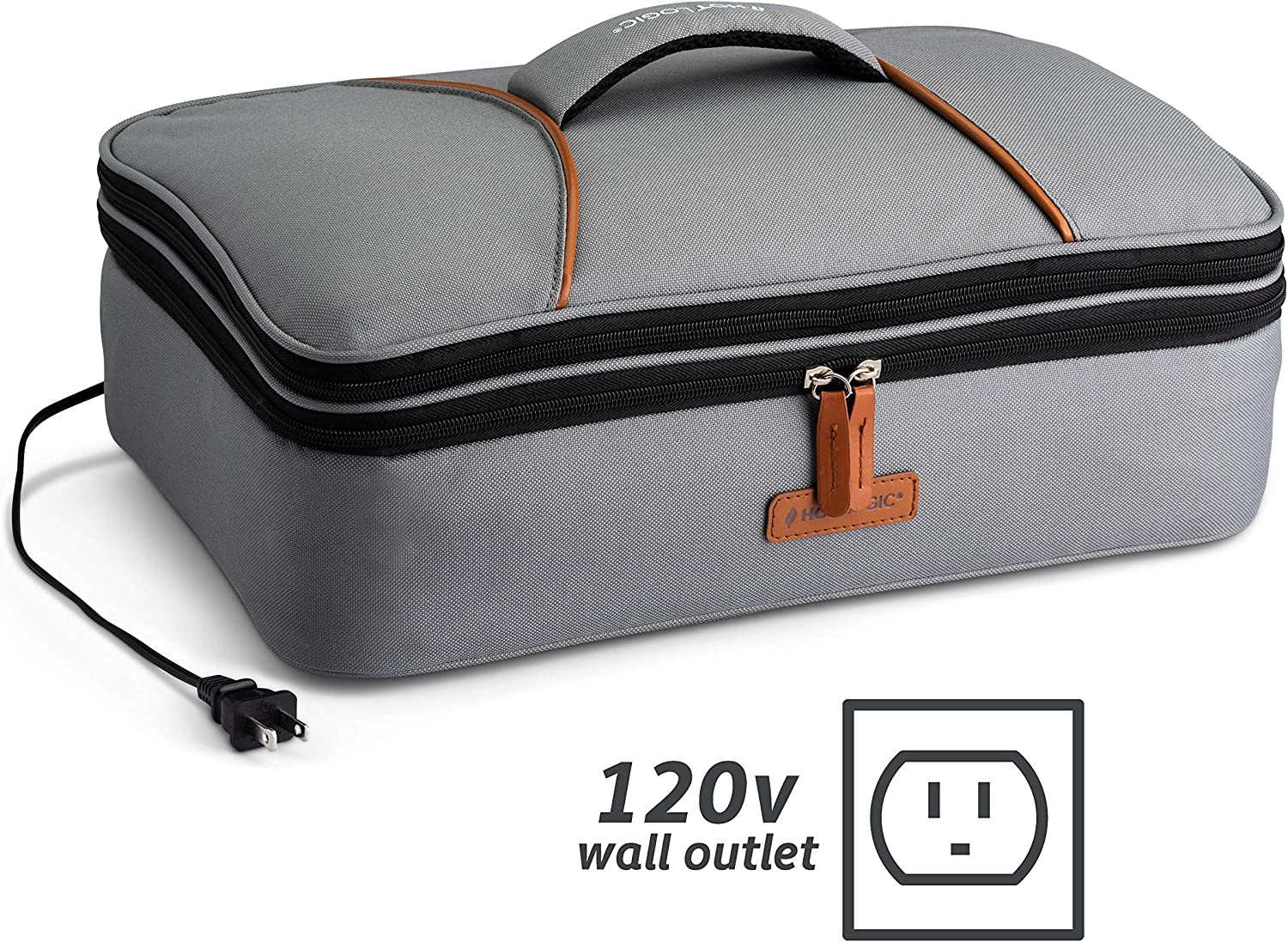 HotLogic 16801170-GY Food Warming Tote Casserole Carrier Plus 120V, Gray