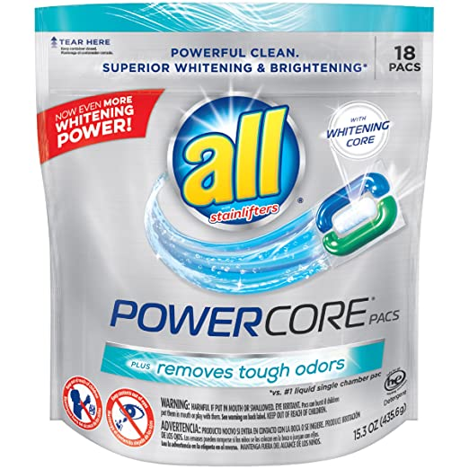 all Powercore Pacs Laundry Detergent Plus Removes Tough Odors, Pouch, 18 Count
