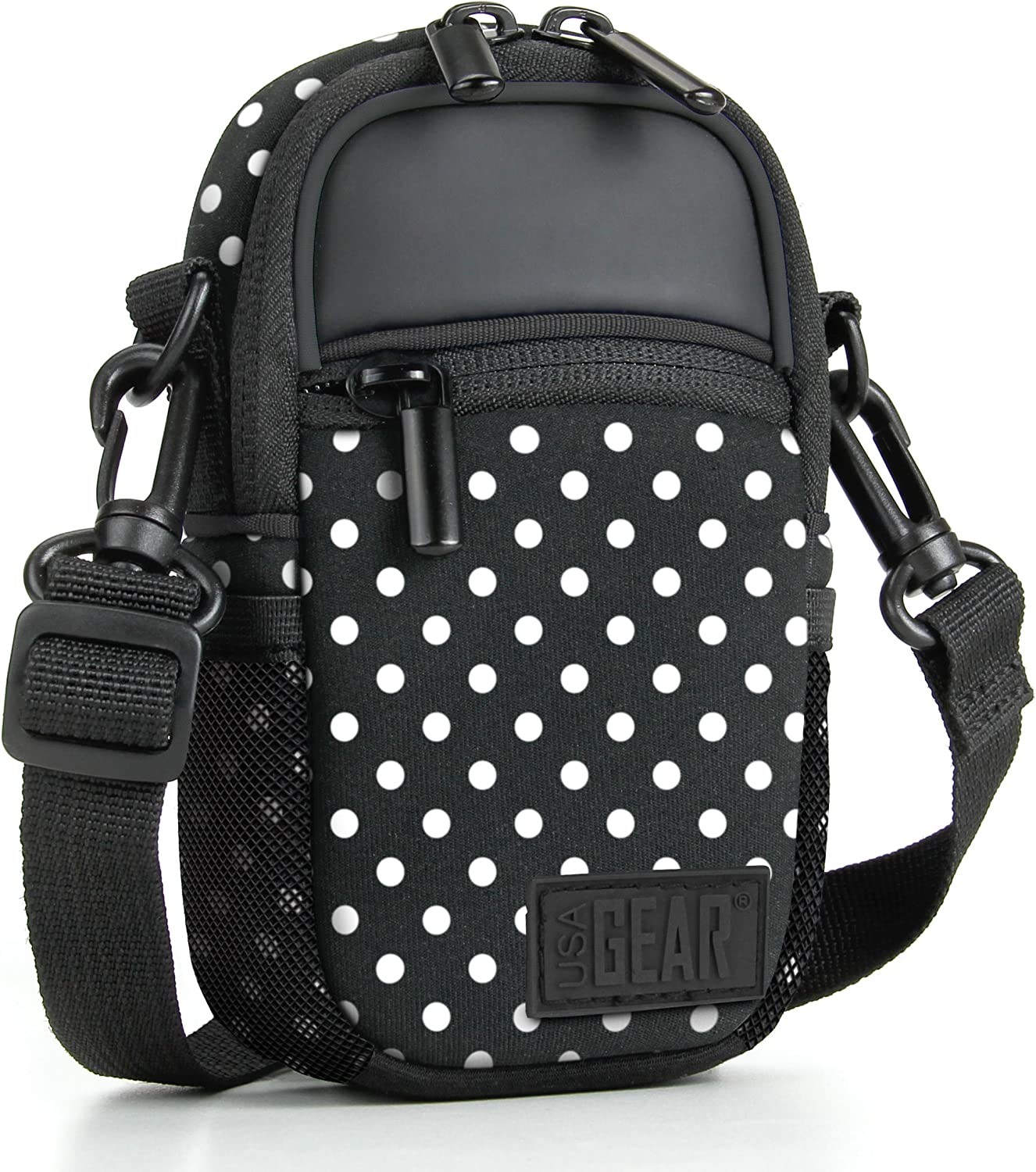 USA GEAR Compact Camera Case (Polka Dot) Point and Shoot Camera Bag with Accessory Pockets, Rain Cover and Shoulder Strap-Compatible with Sony CyberShot, Canon PowerShot ELPH, Nikon COOLPIX and More