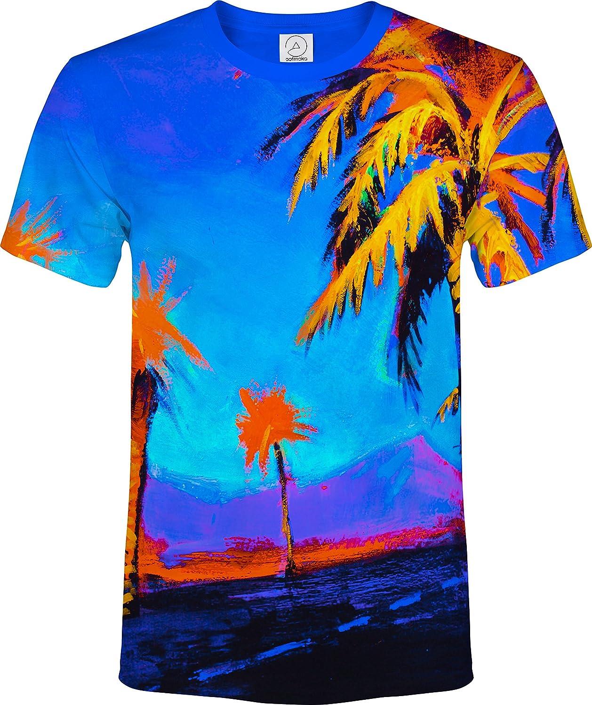 AOFMOKA Ultraviolet Fluorescent Handmade Art Neon Blacklight Reactive Print T-Shirt ts1MCHPLUS