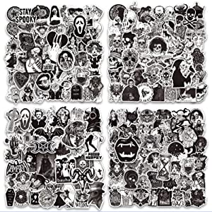 Cool Gothic Punk Stickers for Water Bottle, 200 PCS Black White Skull Horror Stickers, Waterproof Vinyl Stickers Graffiti Decals for Laptop Skateboard Luggage Motorcycle Car Bumper Guitar