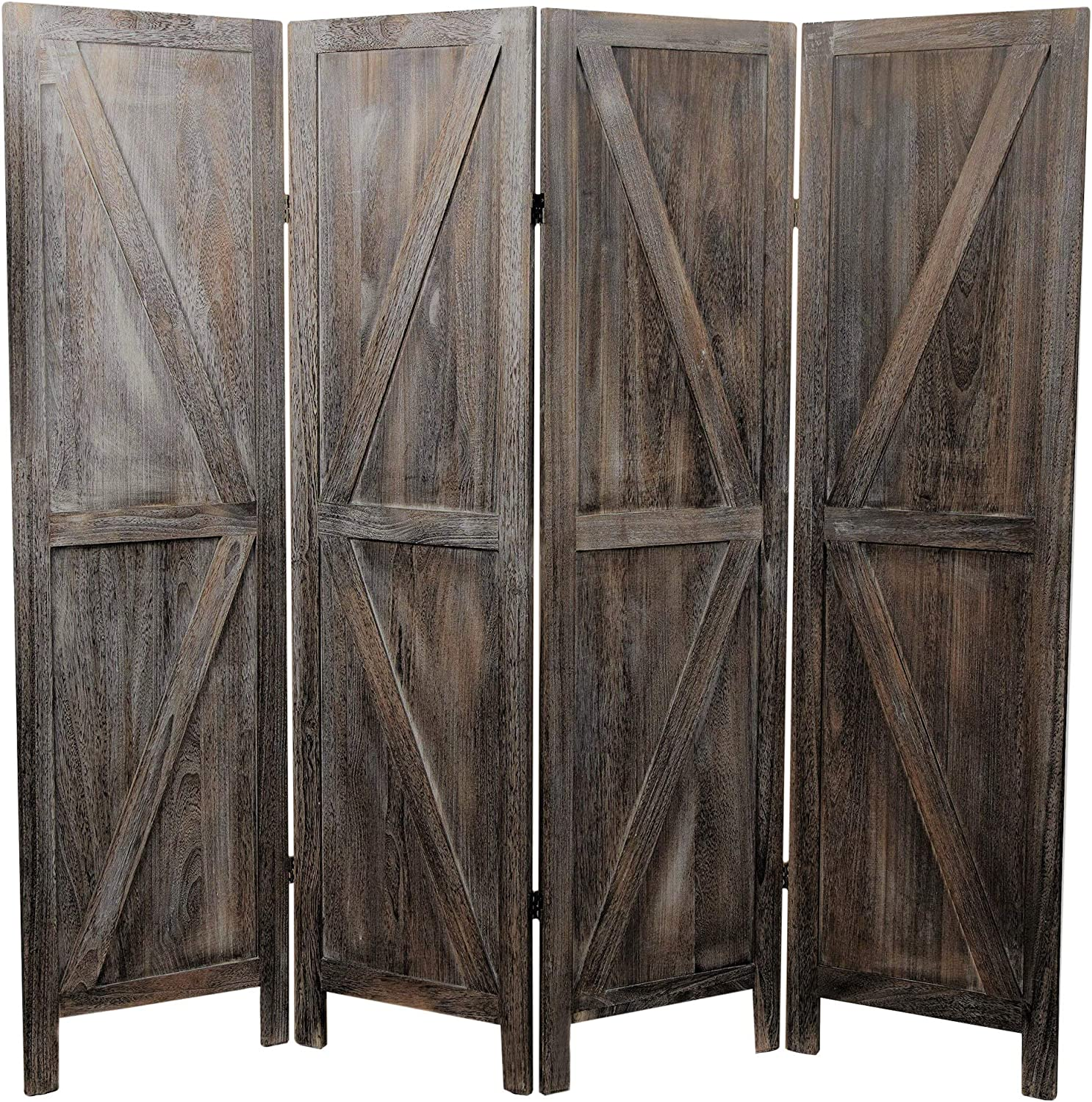 Premium Home Room Divider: Room dividers and Folding Privacy Screens, Privacy Screen, Partition Wall dividers for Rooms, Room Separator, Temporary Wall, Folding Screen, Rustic Barnwood (Barnwood)