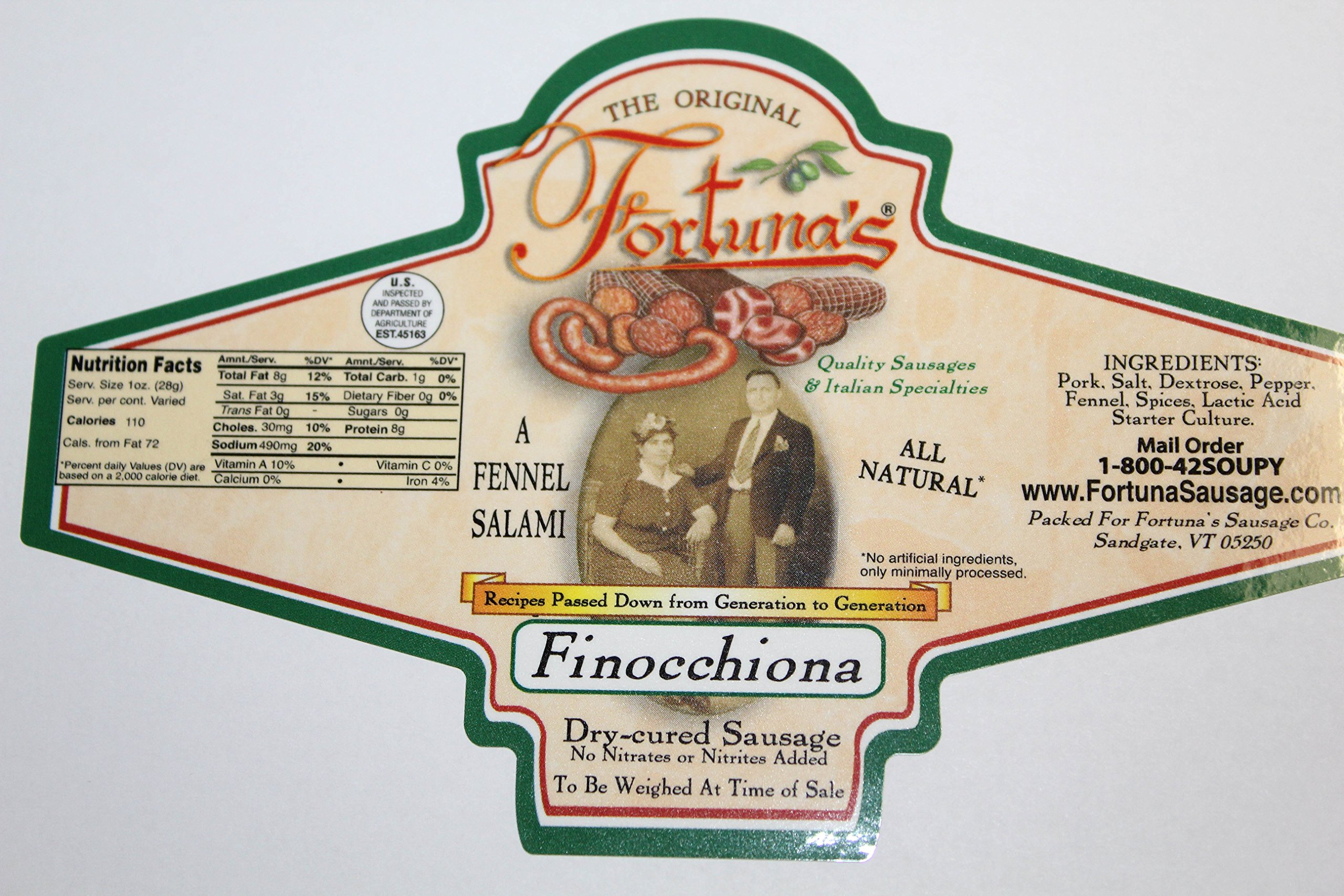 All Natural Fennel Salami- Nitrate Free/Gluten Free (Finocchiona) by Fortuna's