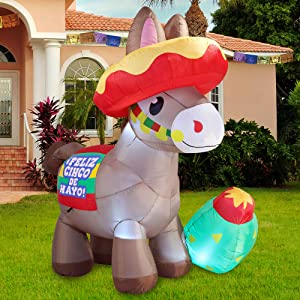 Joiedomi Cinco De Mayo Inflatable Decoration 6 FT Long Fiesta Donkey Built-in LEDs Blow Up Inflatables for Holiday Party Indoor, Outdoor, Yard, Garden, Lawn Spring Decor.