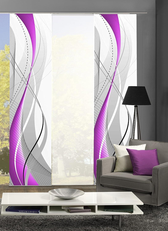 3er-Set Flächenvorhang   Deko blickdicht   WUXI   Höhe 245 cm   2x Dessin  1x uni transparent   Fb. beere weiß
