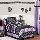 Sweet Jojo Designs 4-Piece Purple and Black Kaylee Girls, Children's & Kids Bedding Twin Set