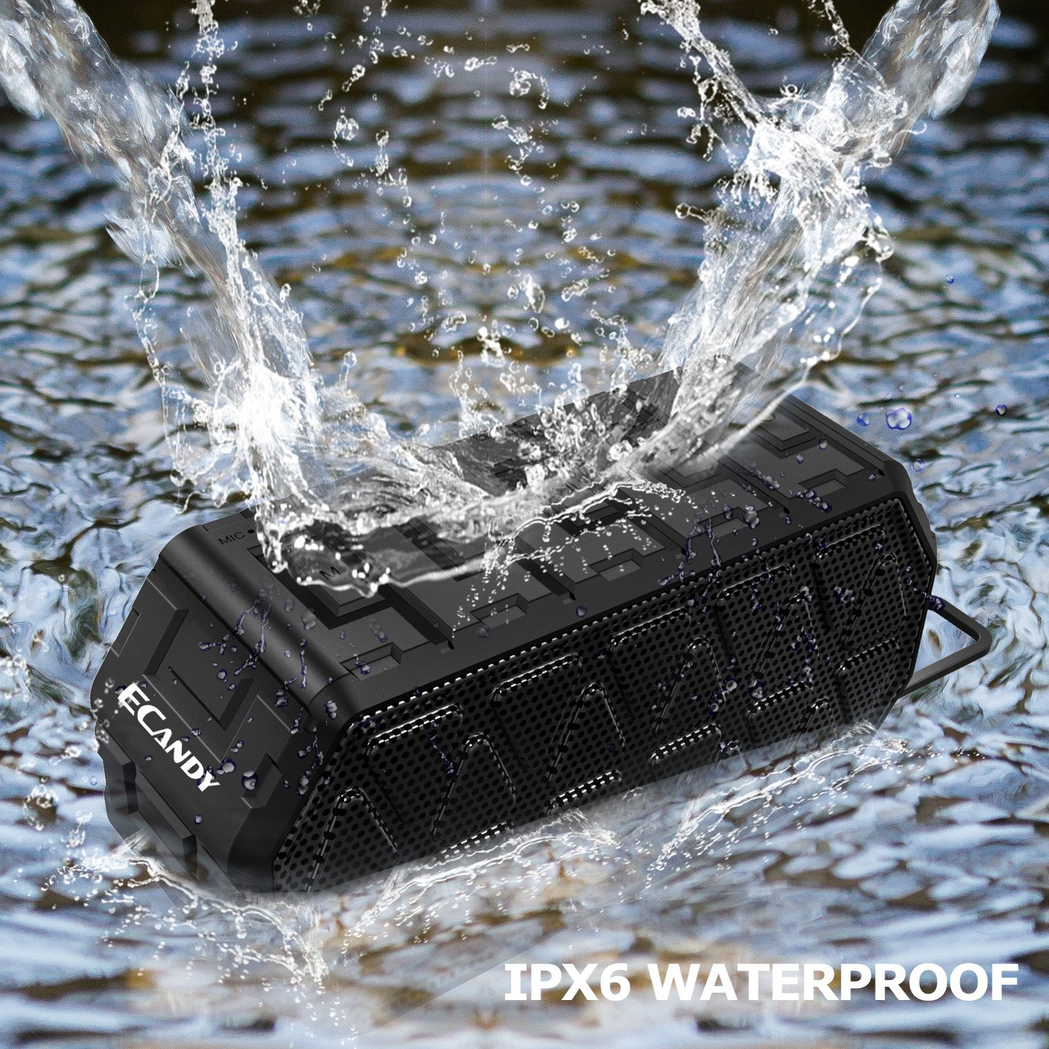 Ecandy Waterproof Outdoor Speaker, Bluetooth Speaker with Mic,12 Hours Playtime ,Pairs with All Your Bluetooth Devices - Phones, Tablets