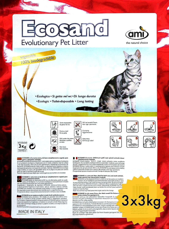 Ami Cat ECO: arena ecológica para gatos, 3 paquetes de 3 kg de almacenamiento, arena para gatos sostenible y biodegradable, no se pega a las patas de ...