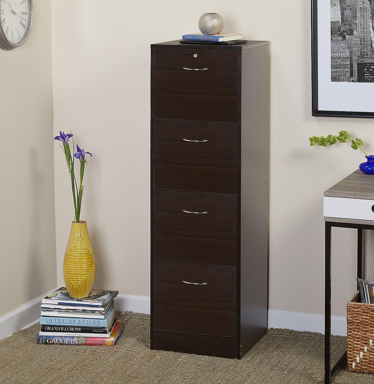 Cuatro cajones Vertical madera con cerradura mueble archivador, protege de documentos y les mantiene organizada, evita que su documentos de la decoloración, ...