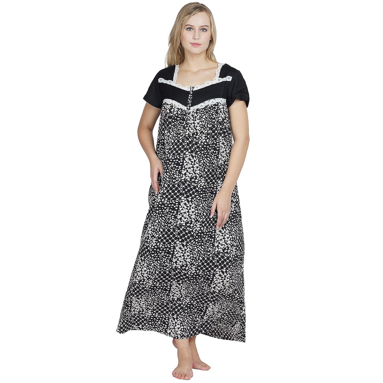 cd7def078b Patrorna Women s Lace Trim Blouson Maternity Nighty Night Dress Gown in  Black Print (Size S-7XL