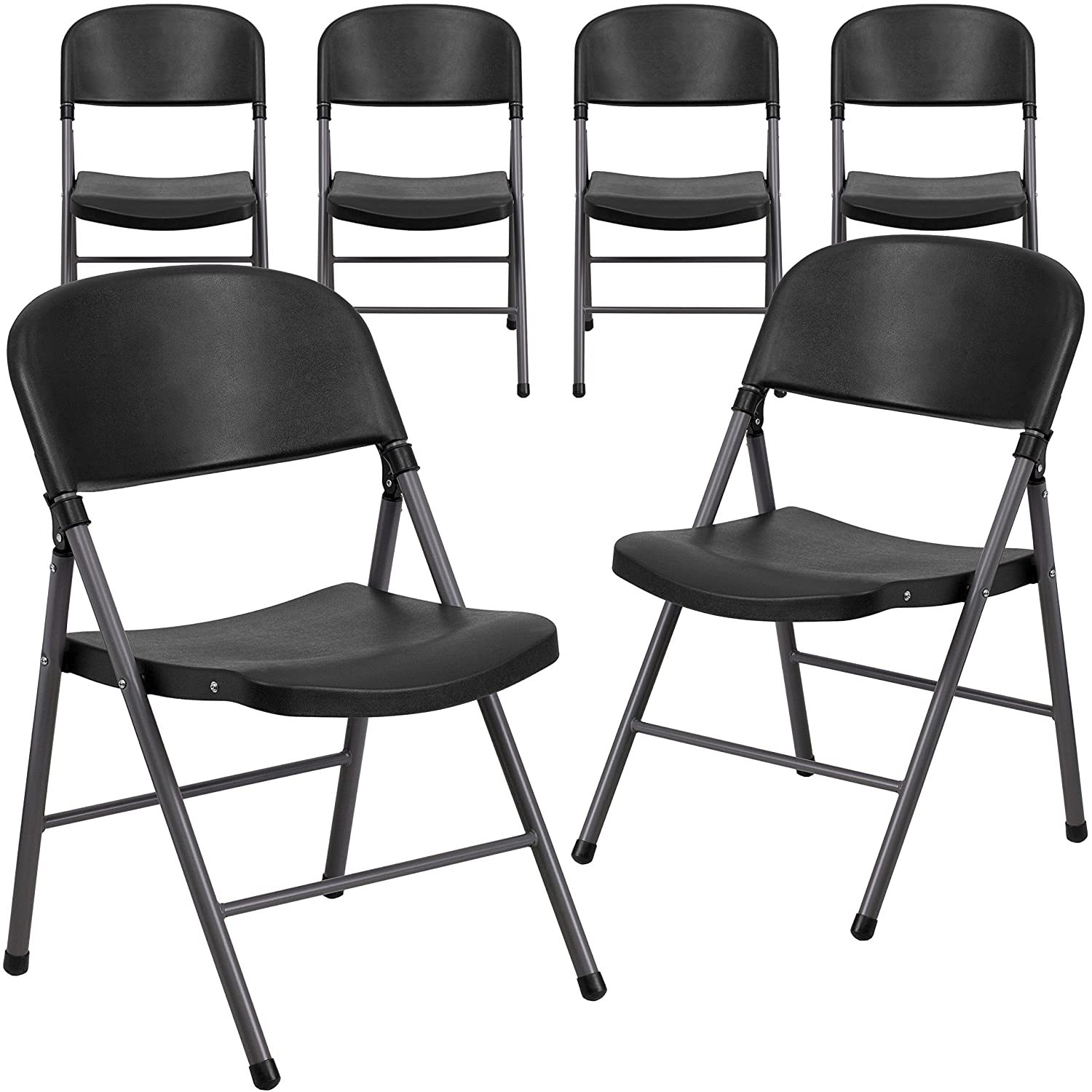 Amazon.com: Flash Furniture 6 Pk. HERCULES Series 330 Lb. Capacity Black  Plastic Folding Chair With Charcoal Frame: Kitchen U0026 Dining