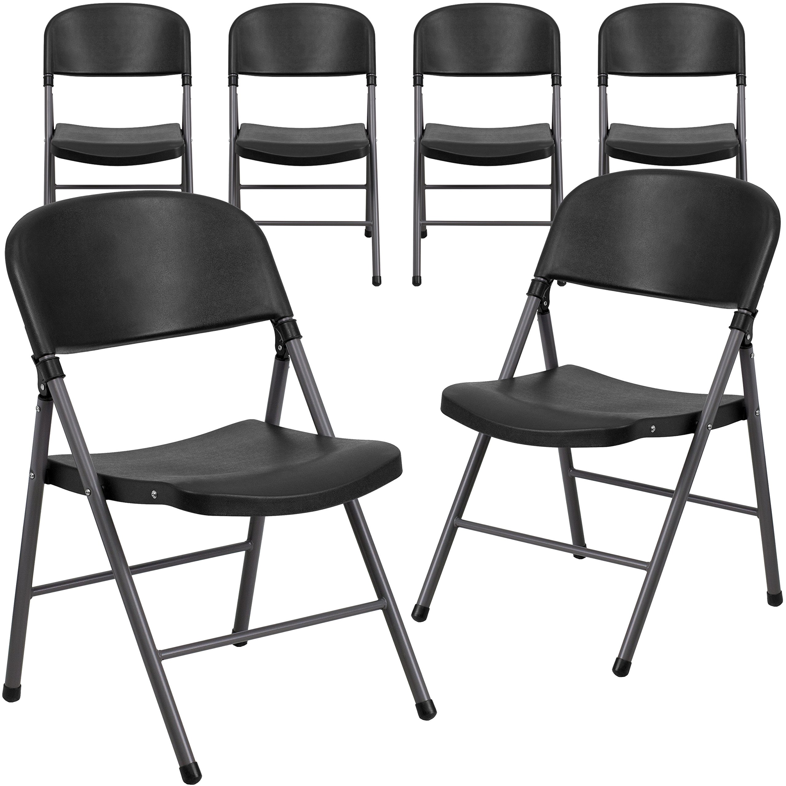 Flash Furniture 6 Pk. HERCULES Series 330 lb. Capacity Black Plastic Folding Chair with Charcoal Frame by Flash Furniture