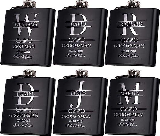 Set Of 6 Groomsmen Gifts For Wedding 3 Designs Personalized Groomsmen Flasks Woptional Gift Box Bachelor Party Team 6 Oz Custom Engraved Hip