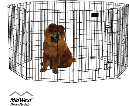 Exercise Pens Training Pet Kennel Small Large Dog Playpen W//Door or 8 pcs Stakes