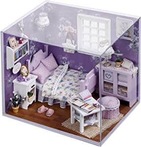 Flever Dollhouse Miniature DIY House Kit Creative Room With Furniture and Cover for Romantic Artwork Gift(Sweet Sunshine)