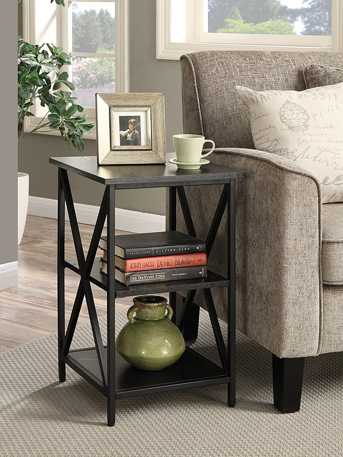 Convenience Concepts Tucson 3-Tier End Table, Black