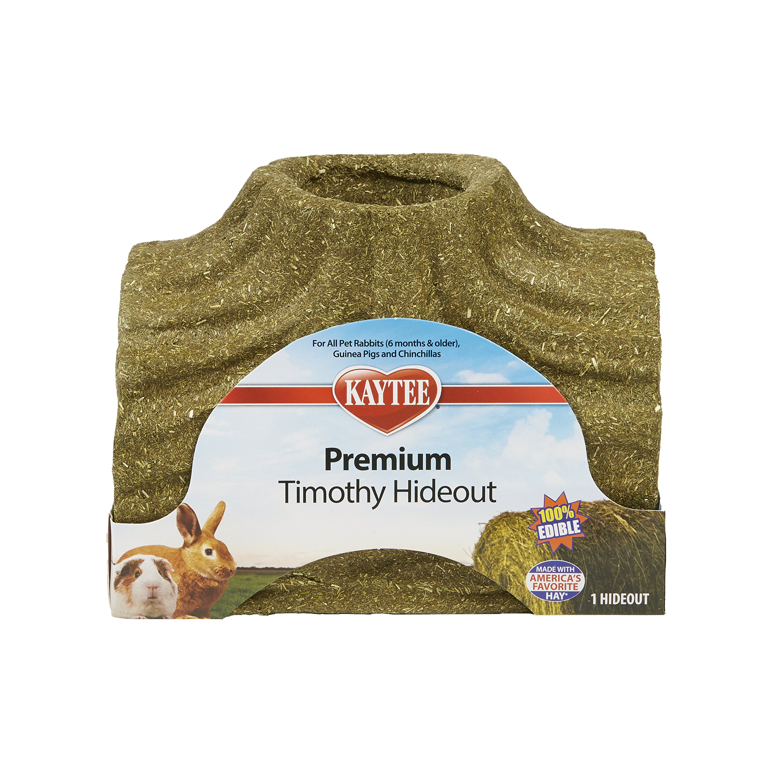 Kaytee 100533710 Premium Timothy Treat Hideout, Large for Small Mammals (1 Count), Large