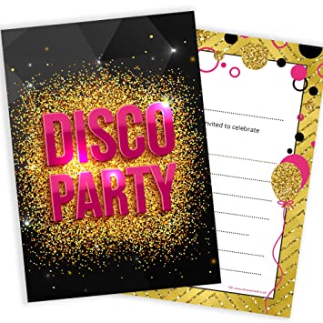Disco Party Invitations Girls Pink And Gold Style Ready To Write